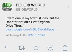 Bio E World Tweet Organic Drivethru