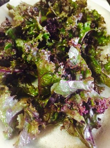 Mix Purple and Green Kales for a beautiful, nourishing snack!