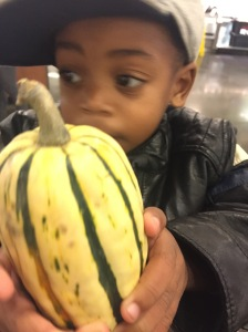 This local, organic Delicata Squash was only $.81! Judah was very pleased :)