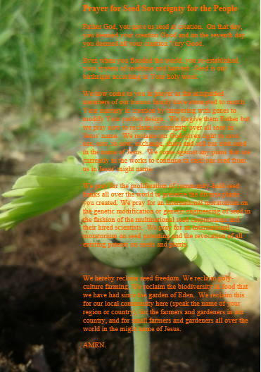 Really Nourish Prayer for Seed Sovereignty for the People